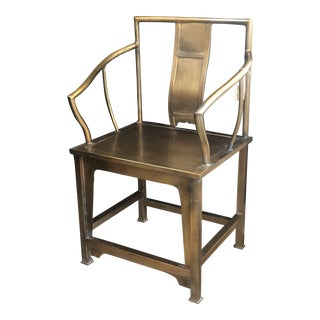 Ming Brass Square Back Chair For Sale