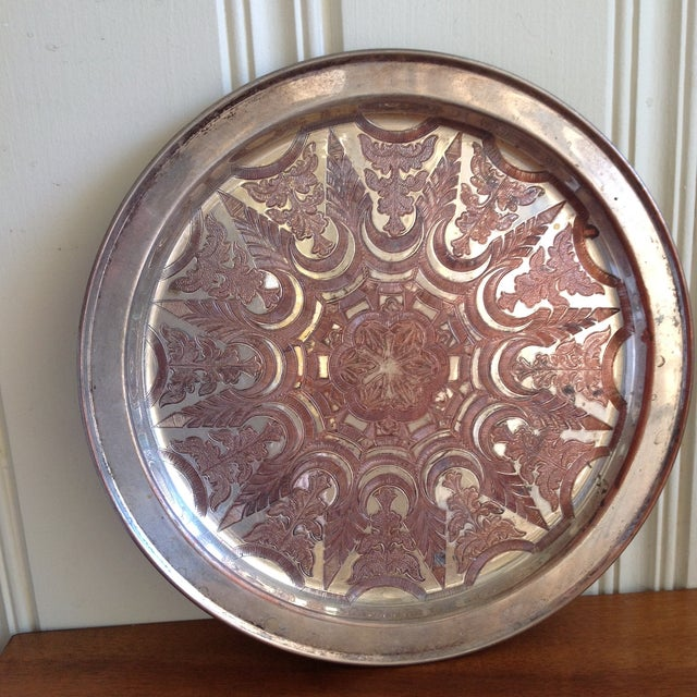 Vintage Moroccan Engraved Patterned Tray - Image 5 of 9
