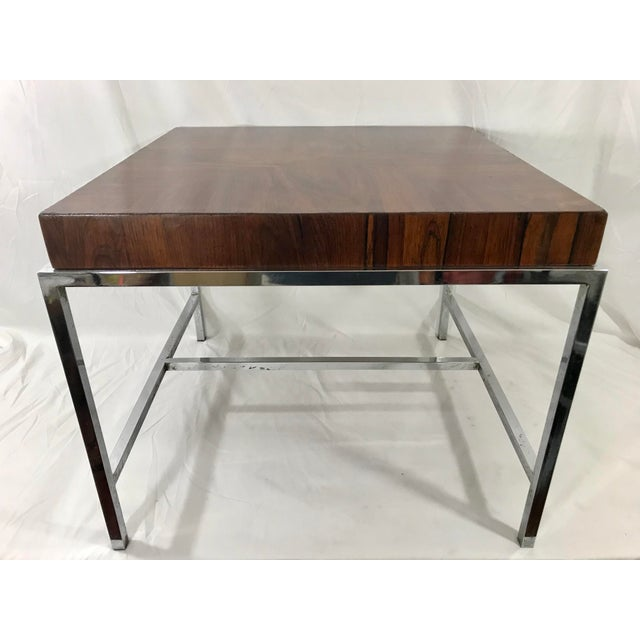 1970s Mid Century Milo Baughan Style Rosewood and Chrome Coffee Table For Sale - Image 5 of 5