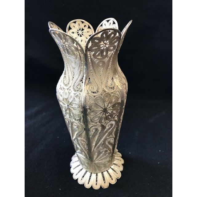 "Metal Turkish Decorative Filigree Silver Decorative Vase 8.75""h For Sale - Image 7 of 10"