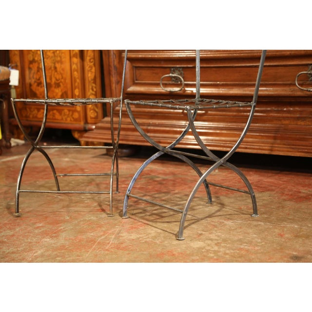 Iron 19th Century French Polished Iron Bistro Chairs From Paris - a Pair For Sale - Image 7 of 11