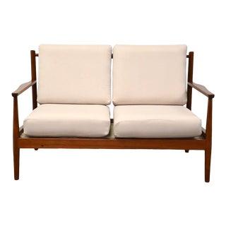 1950s Danish Modern Teak Loveseat Sofa For Sale