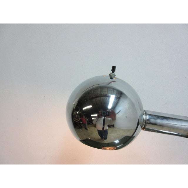 Atomic Mid-Century Orb Eye Ball Chrome Adjustable Table Lamp For Sale - Image 5 of 6