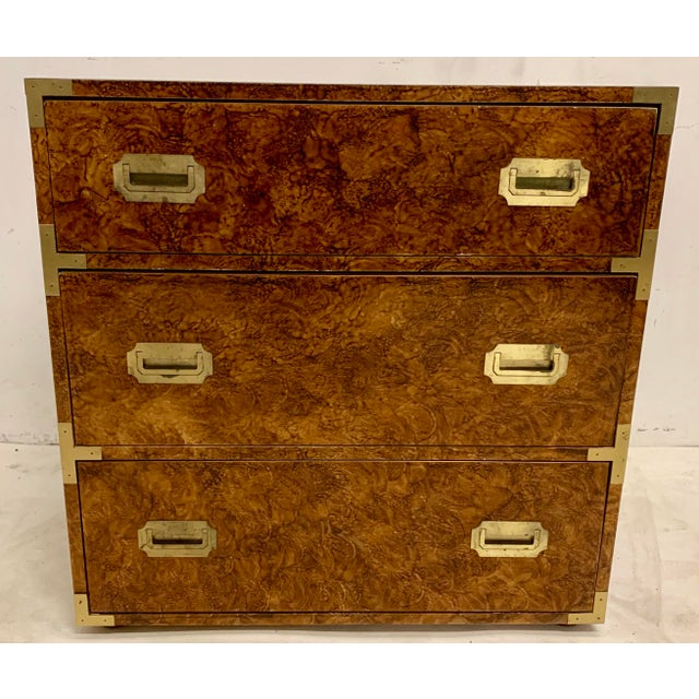 Campaign 1970s Faux Tortoise Finished Campaign Dresser For Sale - Image 3 of 8