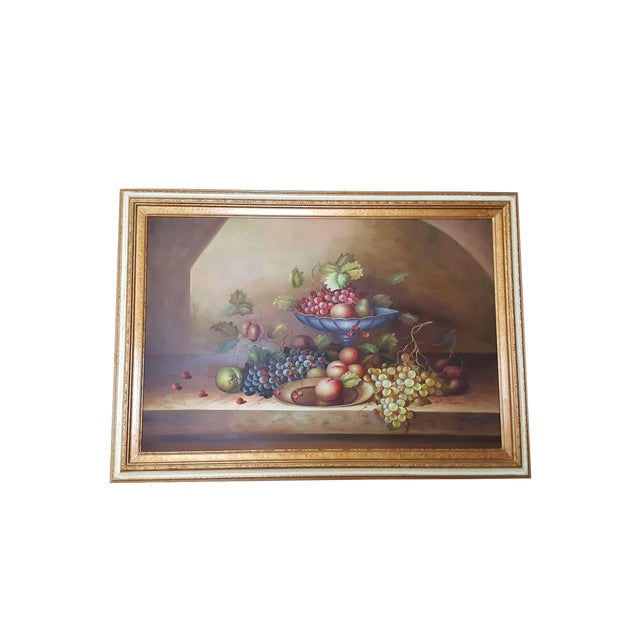 Large Still Life Oil Painting on Canvas Signed M. Aaron For Sale
