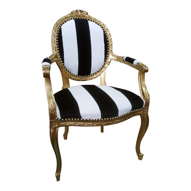 Antique Louis XVI Chair in Gold Leaf with Black and White Striped Velvet For Sale