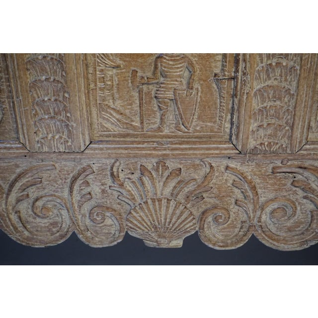 Late 18th Century Antique Carved Oak Flemish Coffer Blanket Trunk For Sale - Image 5 of 12