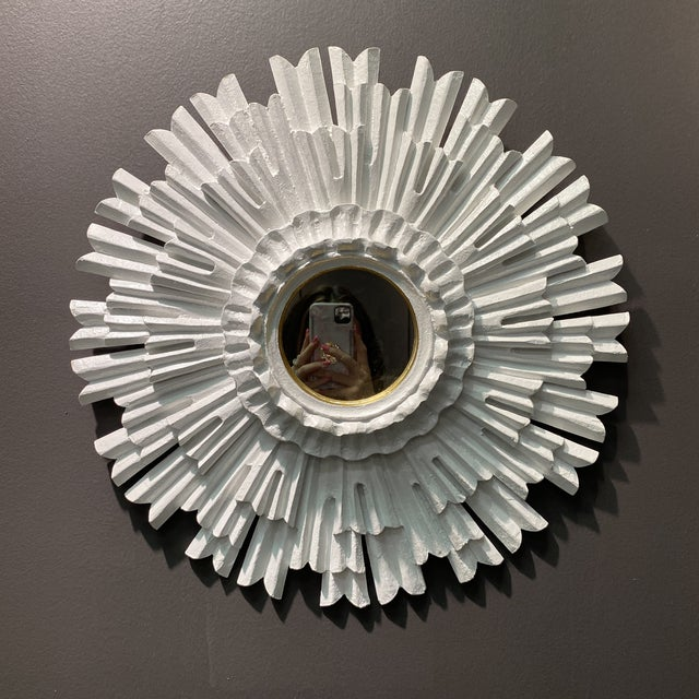 Hollywood Regency White Lacquered Sunburst Mirror For Sale - Image 10 of 10