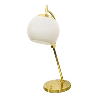Contemporary Brass Finished White Glass Globe Table Lamp For Sale