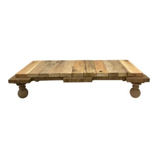 Long Low Reclaimed Hardwood Meditation Table For Sale