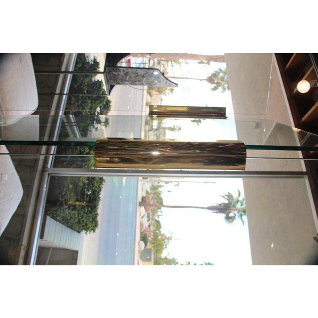Five-Panel Glass and Brass Hinge Room Divider For Sale - Image 4 of 13