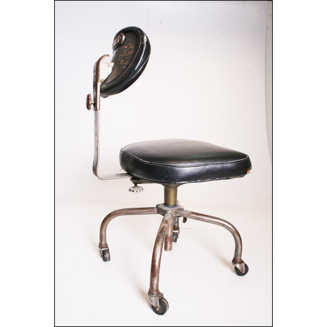 Industrial Vintage Industrial Swivel Office Chair with Black Upholstery For Sale - Image 3 of 11