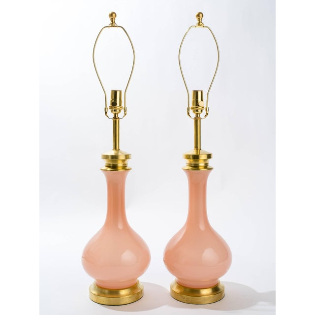Pink Murano Glass and Brass Table Lamps - a Pair For Sale - Image 4 of 6