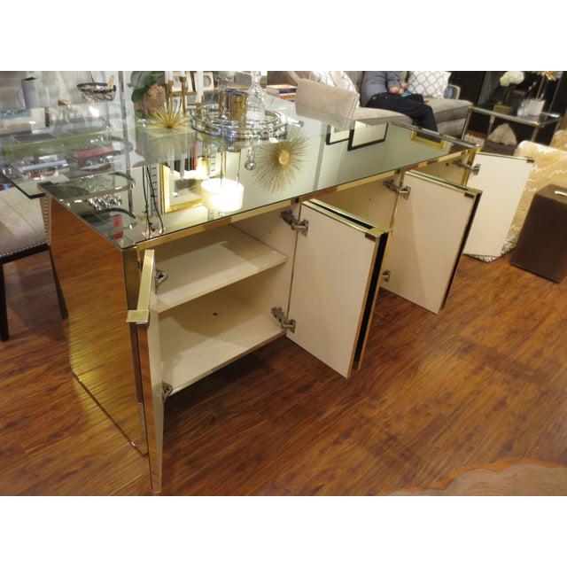Vintage Ello Bronze Mirror Buffet with Brass Trim - Image 6 of 6