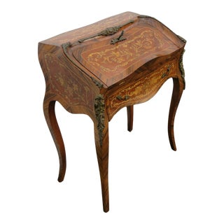 20th Century French Inlay Bronze Accents Vintage Small Secretary Desk For Sale