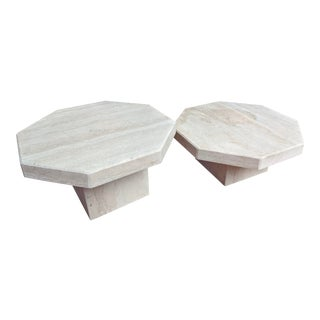 1970s Octagonal Travertine Low Tables, a Pair For Sale
