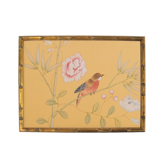 Red-Breasted Bird on Bamboo Branch Painting For Sale In Los Angeles - Image 6 of 6