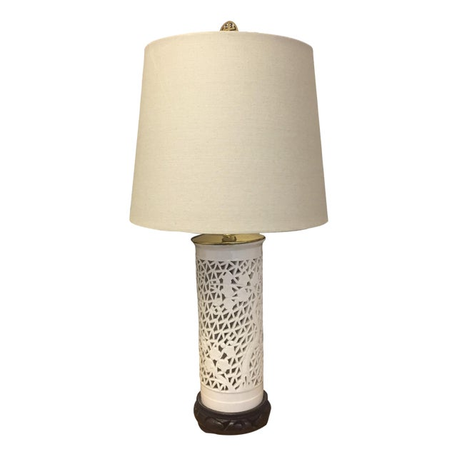 Blanc De Chine White & Brass Asian Pierced Porcelain Table Lamp - Image 1 of 3