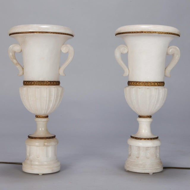 Pair Tall Urn Form Alabaster and Bronze Lamps For Sale - Image 4 of 11
