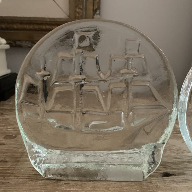 Mid-Century Modern Blenko Glass Sailing Ship Bookends- a Pair For Sale - Image 3 of 7