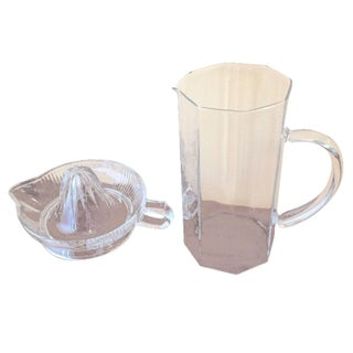 Art Deco Glass Pitcher & Juicer - A Pair