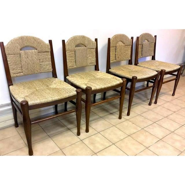 """J.E.Ruhlmann Rare Set of Four Chairs Model """"Rendez-vous des pêcheurs de truite""""."""