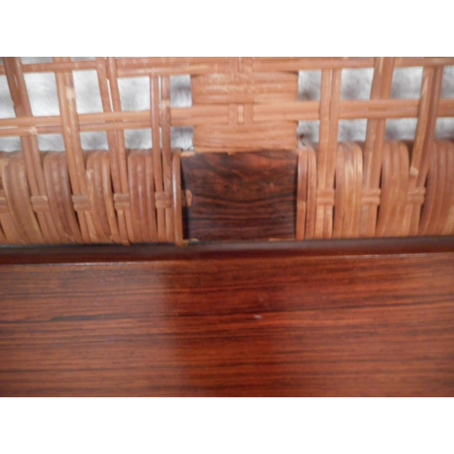 Brown Midcentury Queen Sized Rosewood and Cane Headboard For Sale - Image 8 of 11