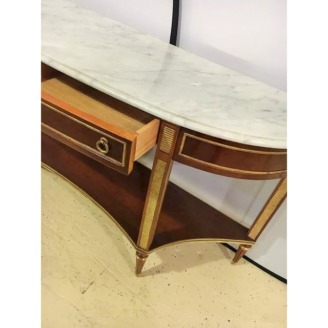 Marble Top Demi Lune Console Tables - Pair - Image 3 of 7