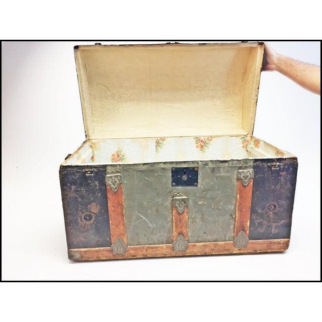 Vintage Rustic Wood Camelback Steamer Trunk For Sale - Image 9 of 13
