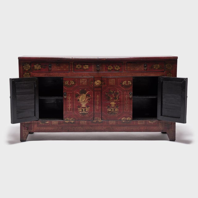 A skilled Mongolian artisan made this beautiful, antique cabinet. The craftsmanship is evident in the intricately painted...