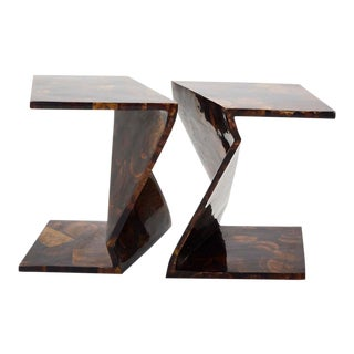 1990s Vintage Postmodern Inlaid Seashell Zig Zag Sides or Coffee Table - a Pair For Sale