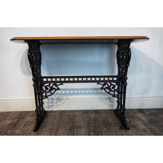 French 1900s Vintage French Iron and Walnut Bistro Table For Sale - Image 3 of 9