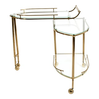 Mid-20th Century Brass / Glass Three-Tier Swivel Wheeled Bar Cart For Sale