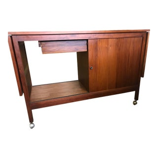 1960s Mid Century Drop Leaf Bar Cart For Sale
