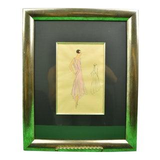 1920s Lanvin of Paris Fashion Model Watercolor Portrait, Framed For Sale
