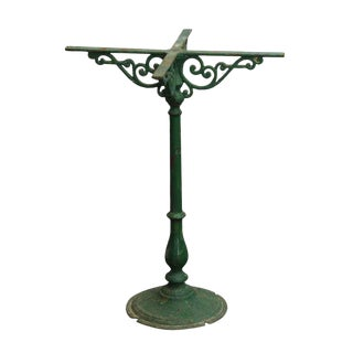 Antique French Green Iron Pedestal Table Base