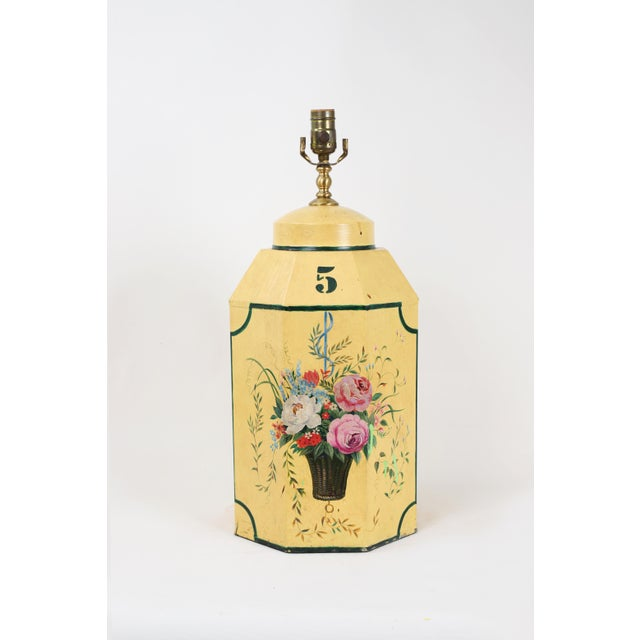 Yellow English Export Hexagonal Tole Tea Caddy Lamp No.5 Handpainted in Yellow For Sale - Image 8 of 8