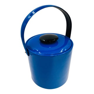 Vintage Georges Briard Electric Blue Patent Ice Bucket For Sale