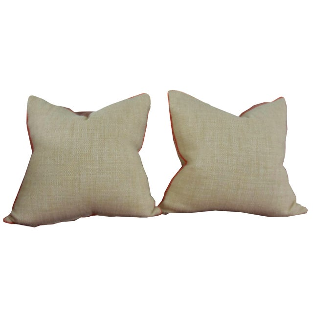 Neutral & Coral Cord Pillow Covers - a Pair - Image 1 of 7