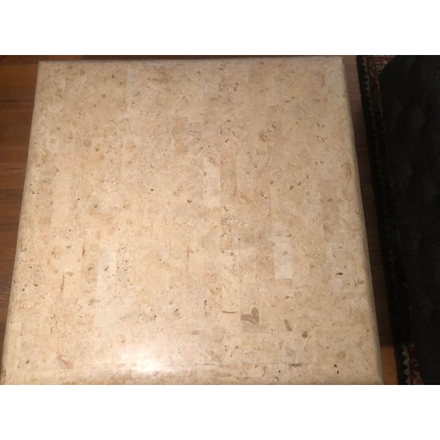 Contemporary 1970s Organic Modern Tesselated Fossilized Stone Coffee Table Karl Springer Style For Sale - Image 3 of 13