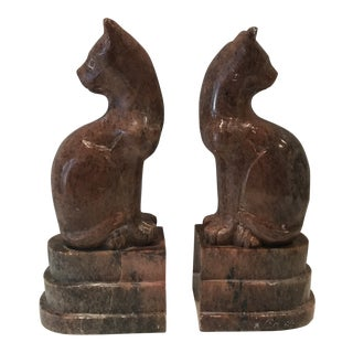 1940s Art Deco Hand Sculpted Marble Stylized Cat Bookends - a Pair For Sale