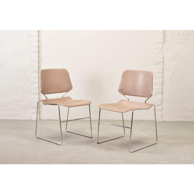Set of Seven Mid-Century Muted Pink Stackable Dining Chairs by Thomas Tolleson for Matrix Krueger, Usa, 1970s For Sale - Image 6 of 13