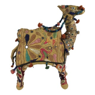 Mid-20th Century Indian Folk Art Shisha Embroidery Stuffed Camel Figurine For Sale