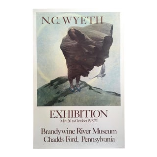 "Newell Convers Wyeth Rare Vintage 1972 Lithograph Print Collector's Large Exhibition Poster "" Winter "" 1909 For Sale"