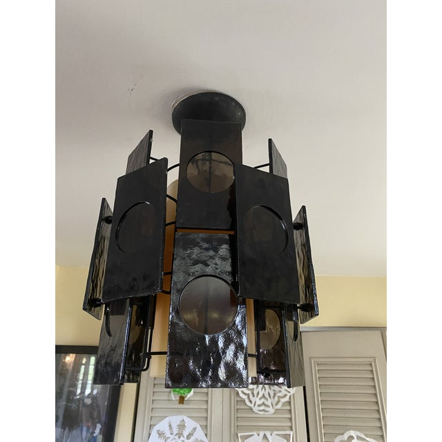 Mid-Century Modern 1960s Mid-Century Lucite Panel Smoke Hanging Lamp Chandelier For Sale - Image 3 of 6