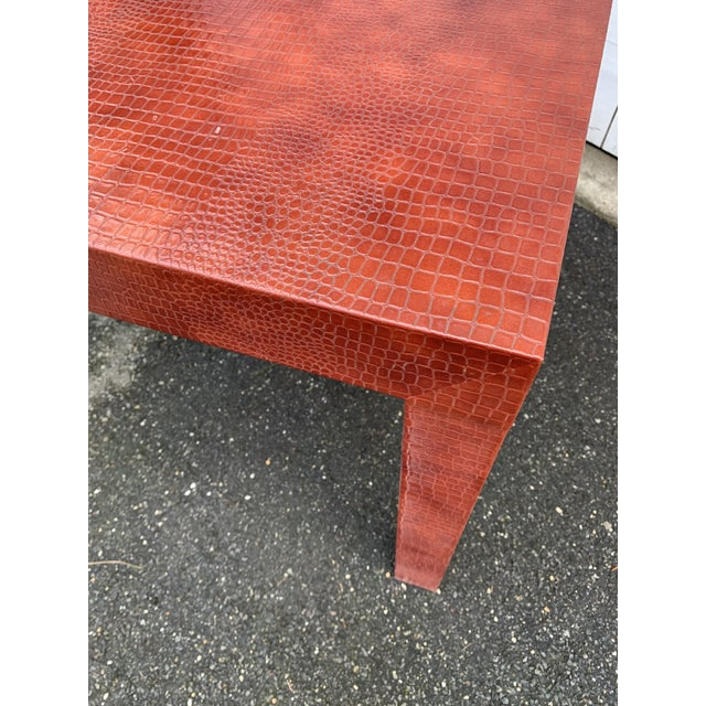 Wrapped Faux Crocodile Parsons Side Table For Sale - Image 10 of 13