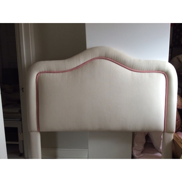 Traditional Pink & White Upholstered Headboard For Sale - Image 3 of 5