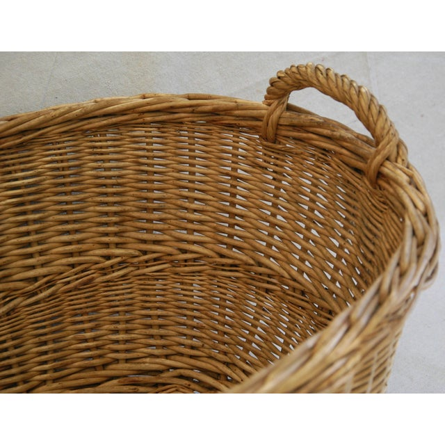 Early 1900s Woven French Country Market Basket - Image 3 of 8