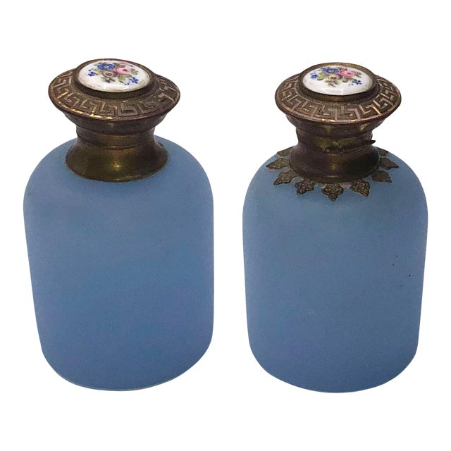 Antique French Blue Opaline Perfume Bottles - a Pair For Sale