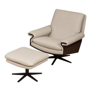 Mid-Century Modern Leather Swivel Lounge Chair With a Footstool - a Pair For Sale